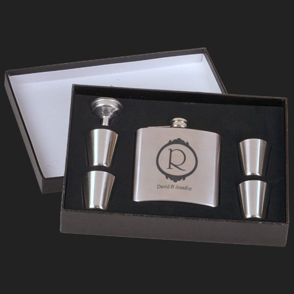 JDFSK652SETA Flask 6oz 6pc Set with Presentation Box - Black (Matte)