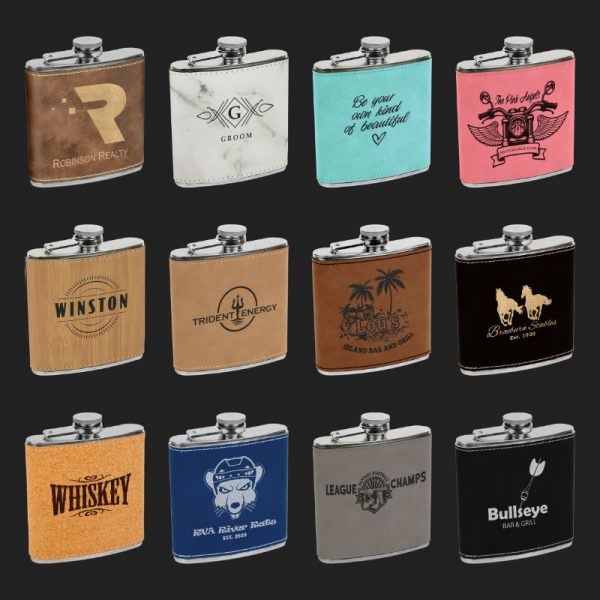QJDFSKL Flask 6oz Leatherette Options