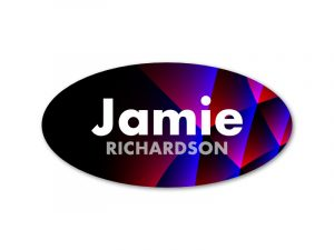 Modern Oval Name Tag 1.5 x 3 Full-Color Background